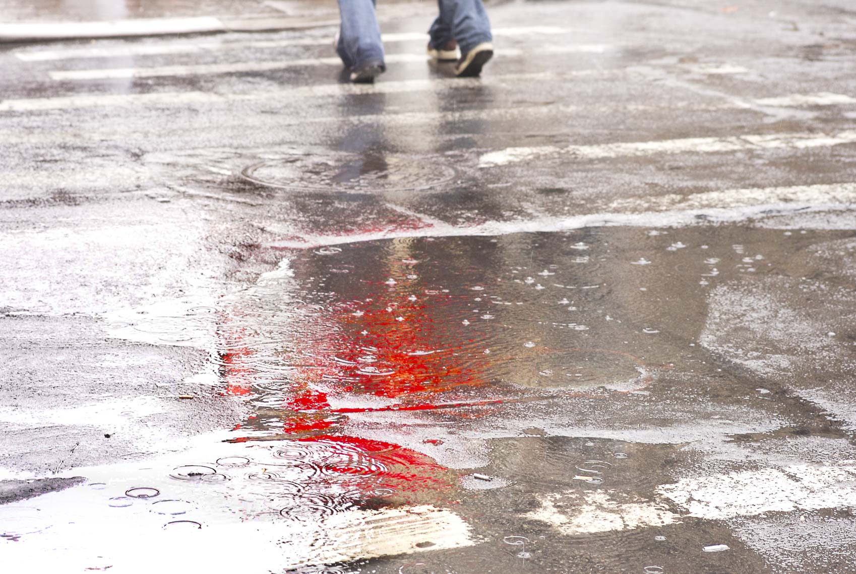 WET PAVEMENT WITH RED